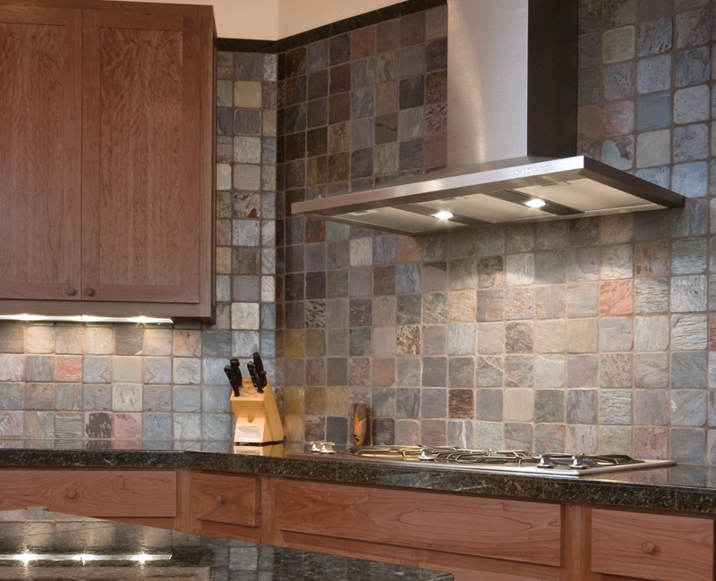 Slate subway tile backsplash