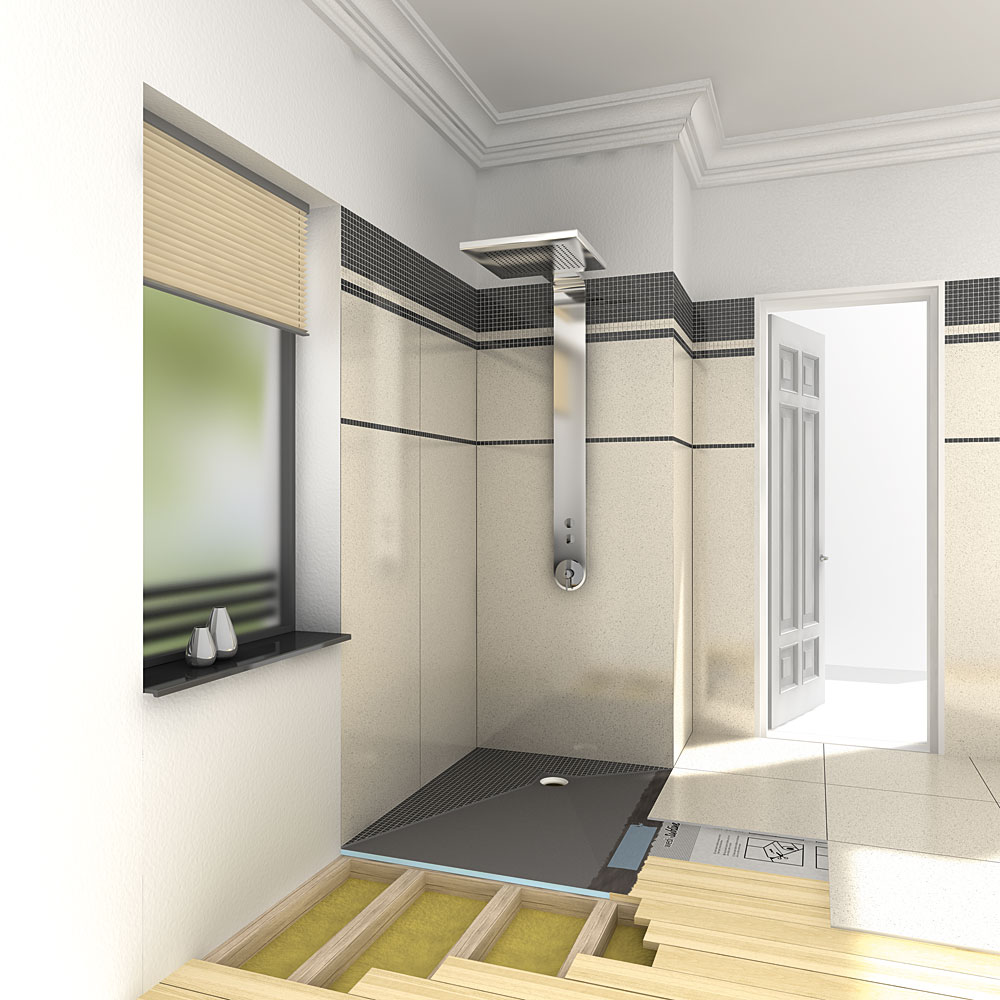 wedi fundo ligno curbless shower genesee ceramic tile. Black Bedroom Furniture Sets. Home Design Ideas